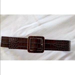 Brown snakeskin belt
